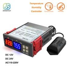 STC 3028 כפולה דיגיטלי לחות בקר טמפרטורת בקר עבור מקרר תרמוסטט רגולטור 12V 24V 220V מדחום