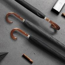 OLYCAT New Arrival Long Rain Umbrella Men Women Business Wooden Handle Large Umbrella Windproof 10Ribs Glass fiber 300T Paraguas
