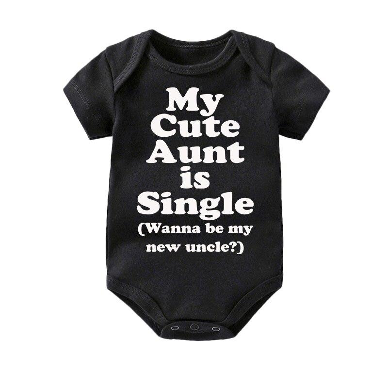 Algodão Bonito Minha Tia Culbutomind bodysuit Meninos Meninas Roupa Do Bebê de Manga Curta roupa preta 0-12M bebê Recém-nascido chá de bebê