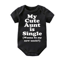 Culbutomind Baby Cotton Clothes My Aunt Baby Short Sleeved One-piece black bodysuit Boys and Girls 0-12M infant baby bangladesh baby country series white blue or pink baby one piece bodysuit