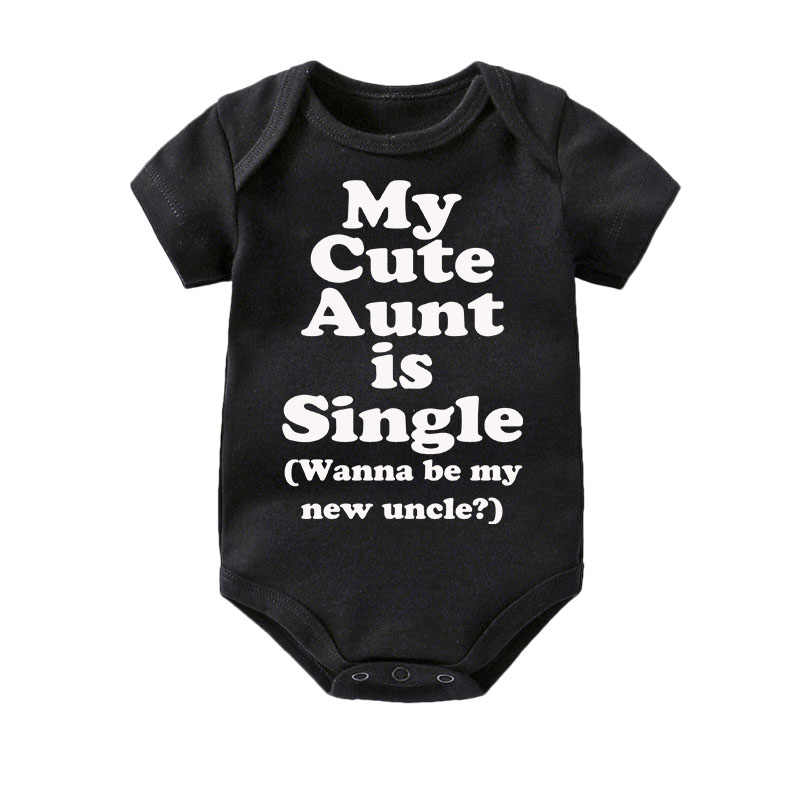 42d92480f7b4 Culbutomind Cotton Cute My Aunt Baby Clothes Short Sleeved clothing black  bodysuit Boys Girls 0-