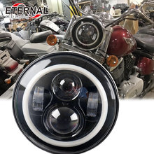 40W 7 inch round led headlight for harley Dyna motor Softail honda civic 2006-2011 dual beam with halo ring angel eyes headlamp dot sae e9 approved 7inch round headlight with halo ring for honda cb500 cb1300 hornet250