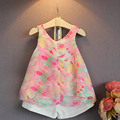 Новый 2015 весна ребенка комплект девушки одежды лето белый / фиолетовый свет плед жилеты комплект костюм 2 ~ 7 лет детская одежда для девочки