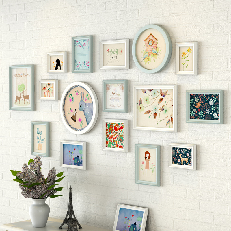 Light Fresh Picture Frame Decoration 16 Pieces/set High Quality Wood Photo Frames For Living Room Wall Hanging Moldura Para FotoLight Fresh Picture Frame Decoration 16 Pieces/set High Quality Wood Photo Frames For Living Room Wall Hanging Moldura Para Foto
