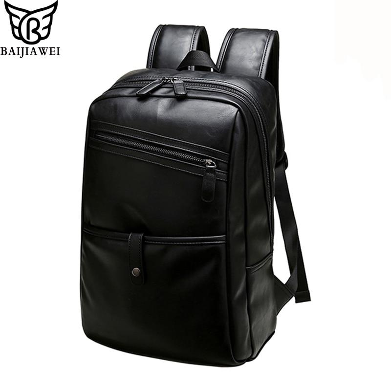 ФОТО BAIJIAWEI men Backpacks Leather fashion bag women Daily backpack 14