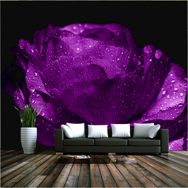 Romantic purple Rose Flower mural 8d wall photo mural Wallpaper for wedding room sofa background 3d wall mural papel de parede 3d mural papel de parede purple romantic flower mural restaurant living room study sofa tv wall bedroom 3d purple wallpaper