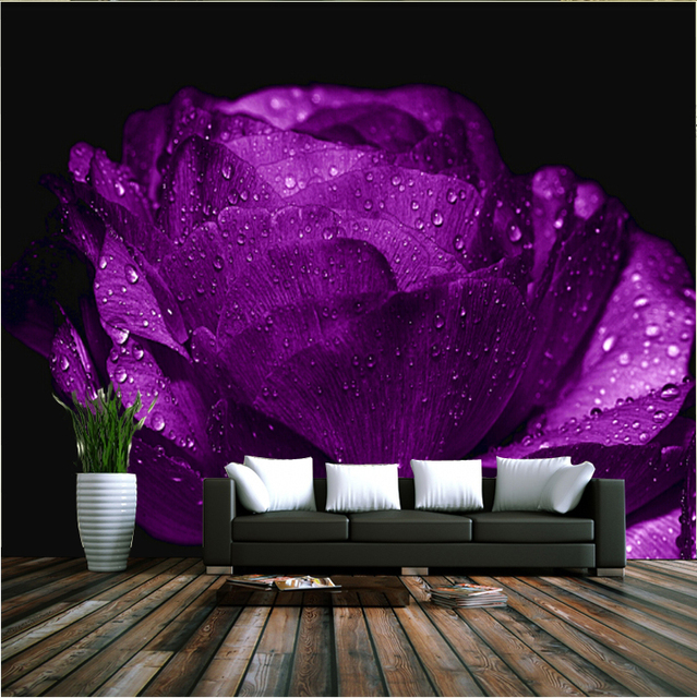 Romantic Purple Rose Flower Mural 8d Wall Photo Wallpaper For Wedding Room Sofa Background 3d