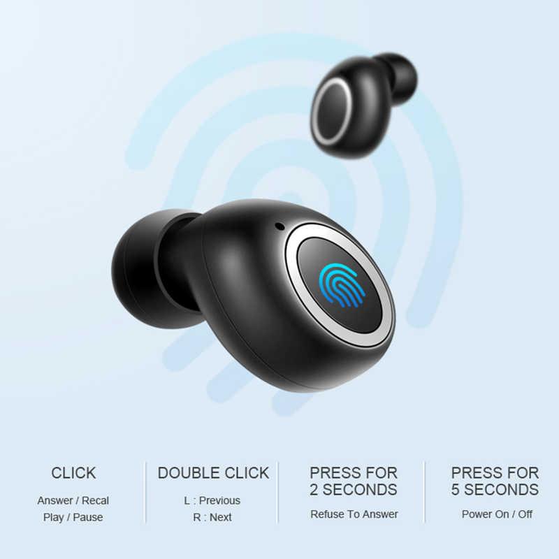 3D стерео звук Bluetooth V5.0 наушники Портативный наушники-вкладыши TWS с Беспроводной сенсорный вкладыши с зарядом Чехол спортивные бас гарнитура Авто Мощность ВКЛ/ВЫКЛ