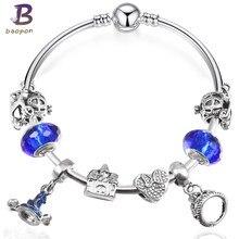 be8a9bb2fcec BAOPON plata cristal pulsera de encanto para las mujeres serpiente cadena y  cristal de Murano azul perlas Pandora pulsera autént.