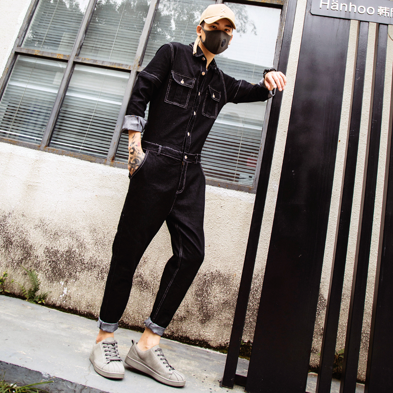 Autumn Embroidery Denim Jumpsuit Mens Fashion Single Breasted Rompers Long Sleeve Pockets Overalls New One-piece Suits Romper