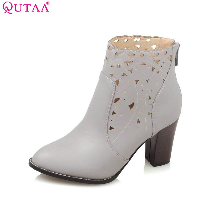 QUTAA Cut Outs PU leather Square High Heel Ankle Boots Pointed Toe Round Toe Solid Women Motorcycle Boots Size 34-43 size 34 43 2016 fashion women s ankle boots black motorcycle pu leather boots solid pointed toe martin boots autumn shoes