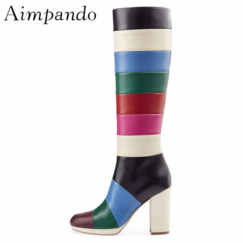 Mixed Color Patchwork Knee High Boots Square Heel Round Toe Chunky Heels Rainbow Color Stage Long