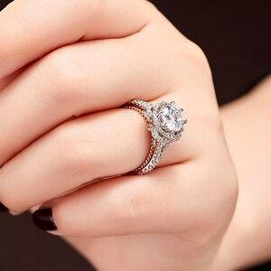 Image 2 - 固体 10 18kホワイトとイエローゴールドセンターdf色 1ctwモアッサナイトダイヤモンドヴィンテージの婚約指輪女性ブライダルウェディング