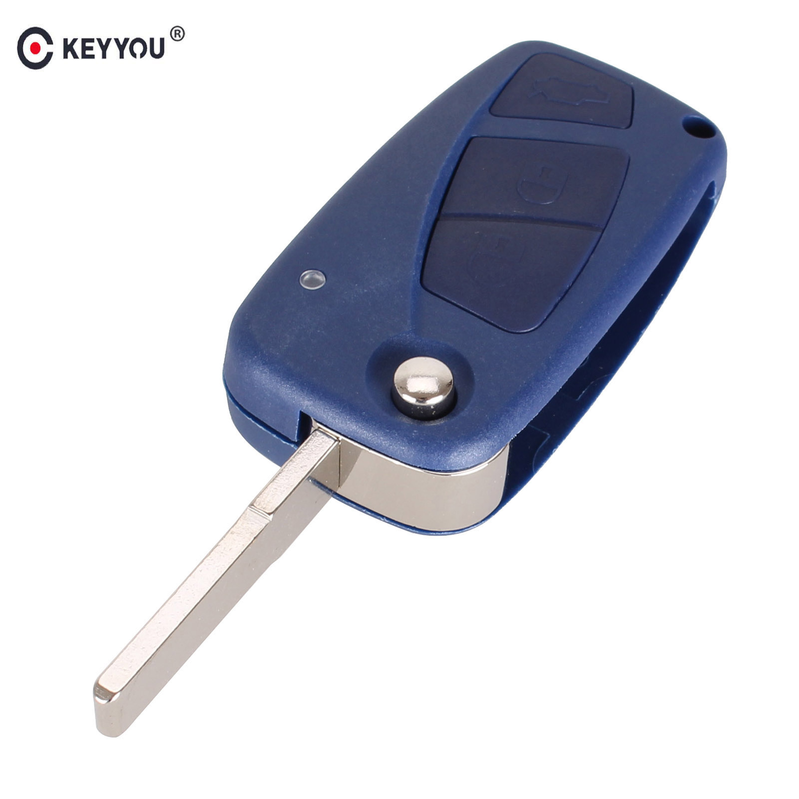 KEYYOU Flip Remote Key Shell for FIAT Punto Ducato Stilo Panda Idea Doblo Bravo Keyless Fob Case 3 Buttons Car Alarm Cover replacement folding key case shell for vw golf 7 no chip for volkswagen remote keyless shell auto parts key case with blade