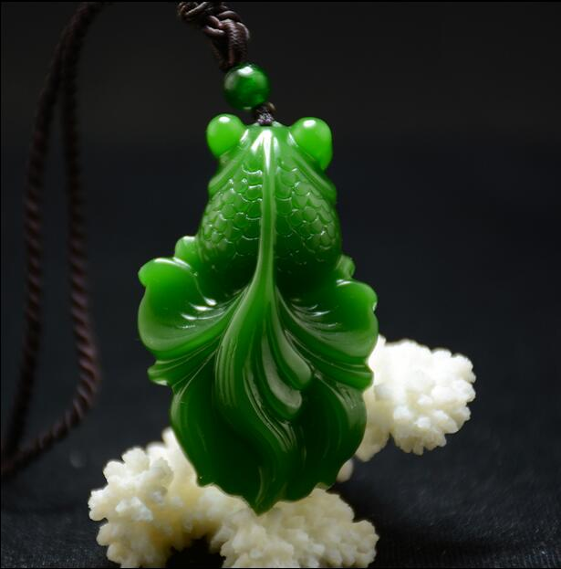 3fed9d002a9ec US $19.5 22% OFF|Tian Yuqian jade fish pendant Jasper jade pendant to wear  green spinach rich sweater chain-in Charms from Jewelry & Accessories on ...
