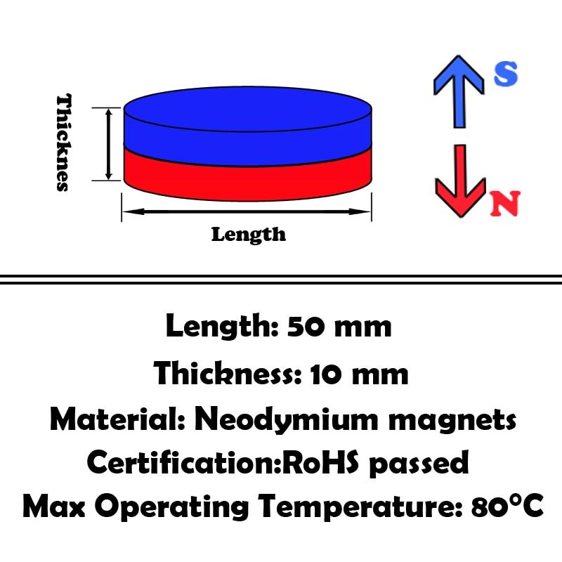 20pcs Neodymium N35 Dia 50mm X 10mm Strong Magnets Tiny Disc Ndfeb