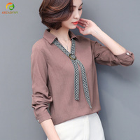Women Shirts 2017 Autumn Blouse Casual Office Tie Decoration White Grey Long Sleeve Women Clothes OL
