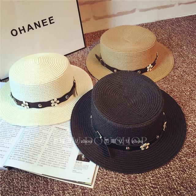 Nuevas mujeres del verano playa de la paja sombreros para mujer banda de cuero del sol sombreros del cubo Flat Top Sombrero envío gratis SDDS-007