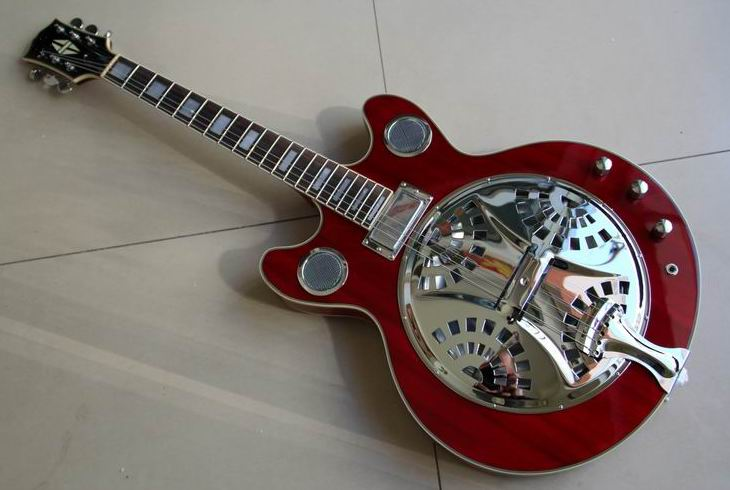 New Arrival Cibson Dobro Resonator Steel Electric Guitar With Chrome Hardware In Red 110921 free shipping wholesale high quality maestro dobro resonator purple electric guitar in stock 140401