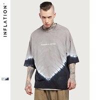 INFLATION 2017 Summer New Style Oversize Tie Dye T Shirt Grey Black Men S Longshirt Longline