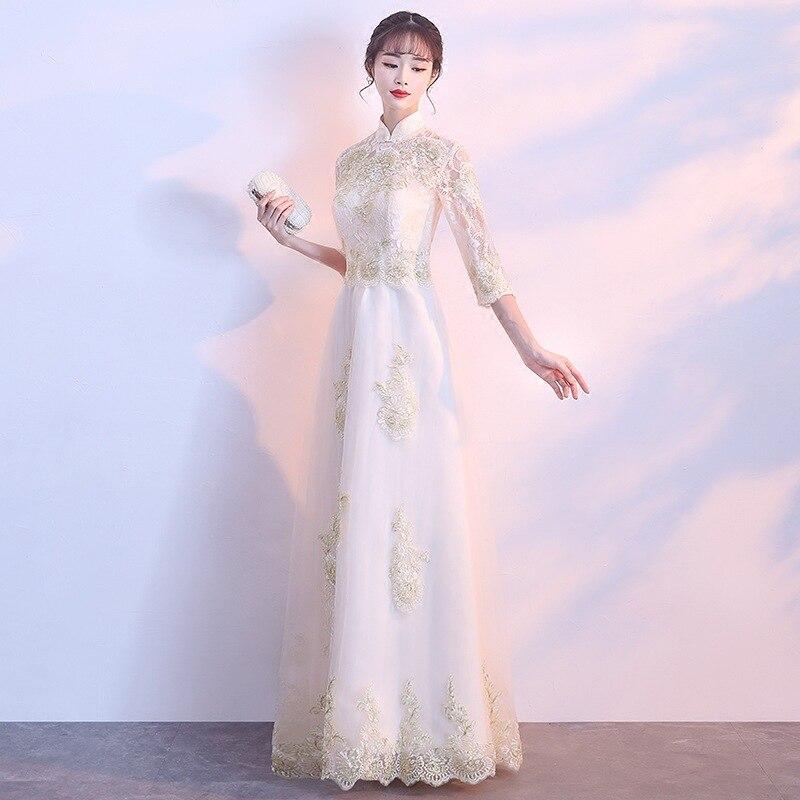 2019 nouvelle robe de soirée Banquet élégante robe de demoiselle d'honneur chinoise longue coréenne étudiant manches étudiant Banquet