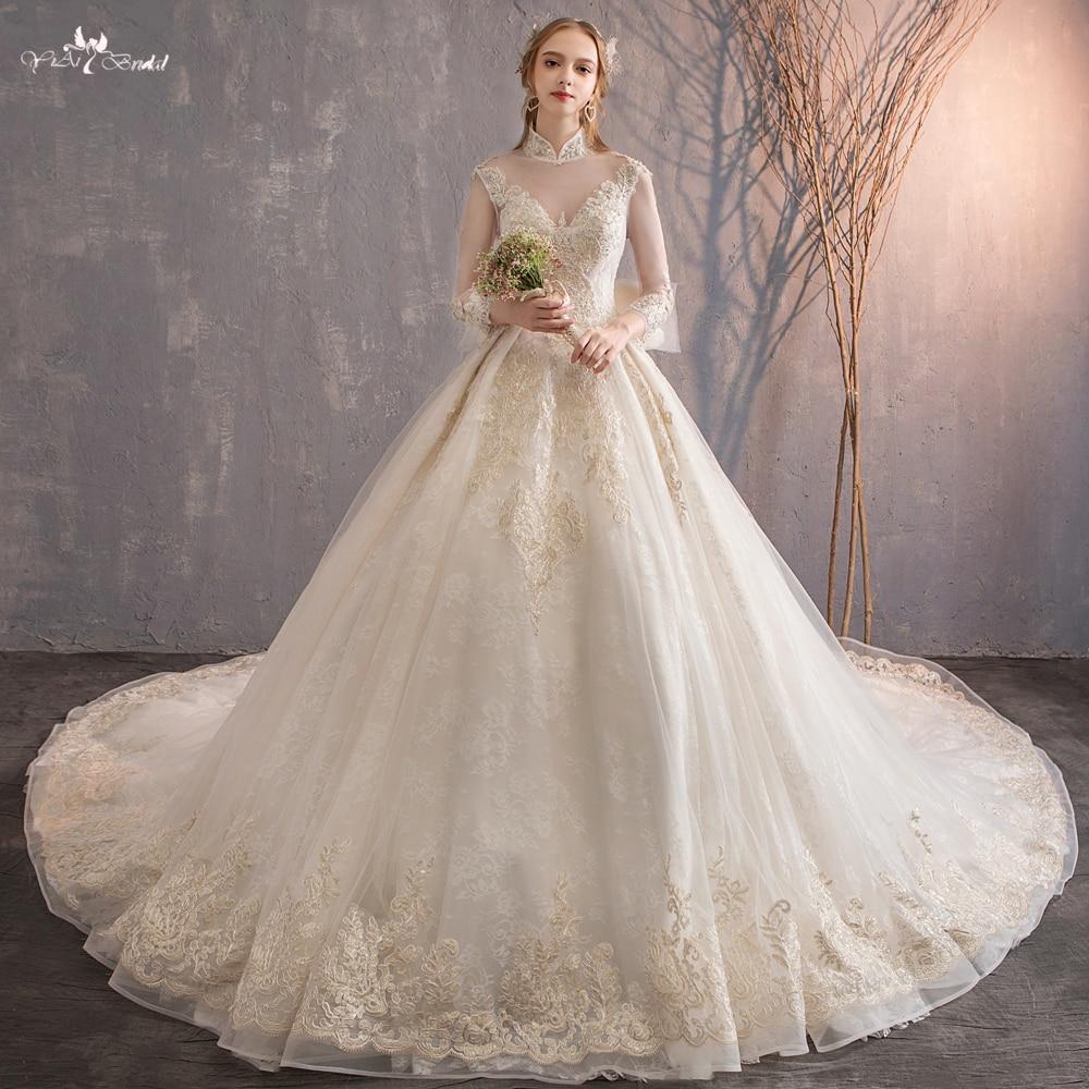 RSW554 2018 High Collar Neckline Keyhole Back Lace Up Bow Ribbon Champagne Wedding Dress Long Sleeve