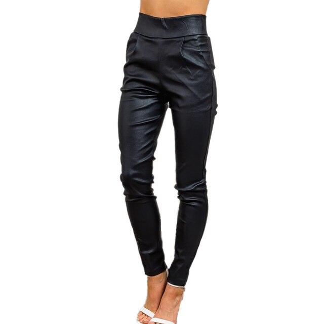 PU High Waist Legging Jeggings Female Fashion Autumn Trousers For Women Slim Leggings Elegant Black Pencil Women's Pants Plus
