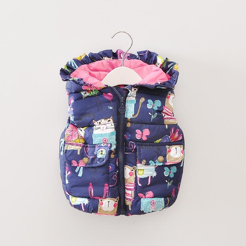 2016 winter girls vest thick cotton floral vest for girls