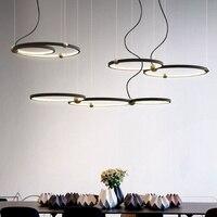 Современный минималистичный Железный кольцевой светодиодный светильник, люстра в скандинавском стиле, золотой шар, черная краска, украшен