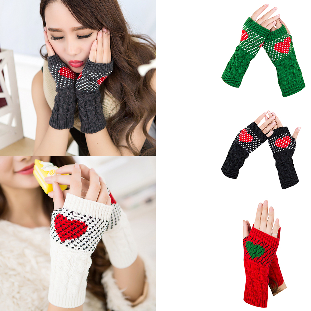 1 Pair Christmas Heart Typing Gloves Women Girls Arm Wrist Warmer Sleeves Winter Autumn Mittens