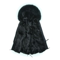 Luxury Women Winter Faux Fur Warm Long Coat jacket Outwear with Raccoon Fur Trim Plus size S 4XL