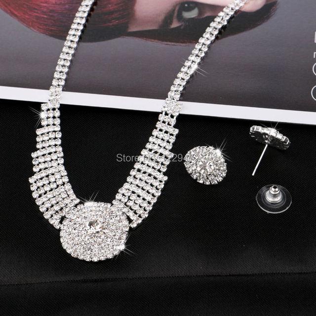 TREAZY Sparkling Silver Color Rhinestone Chunky Choker Necklace Earrings Jewelry Set Elegant Crystal Wedding Bridal Jewelry Sets 1