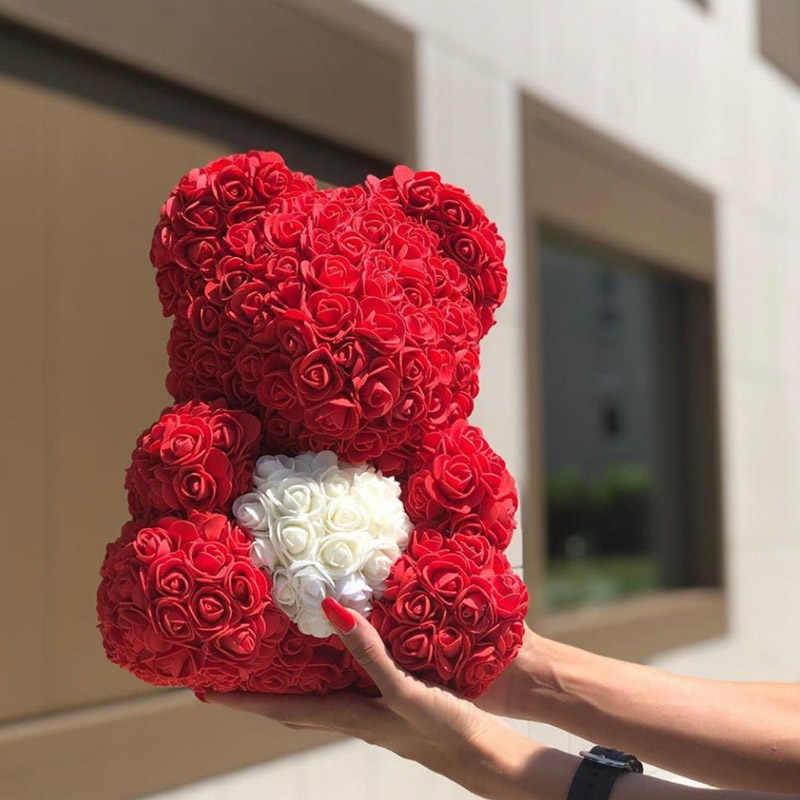 2019 Vendita Calda della Rosa orso Artificiale Decorazione di Cerimonia Nuziale del Contenitore di Regalo di Giorno di san valentino Regalo Di Compleanno Regalo di Trasporto Libero Diretto Della Fabbrica