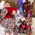 Mujeres de Los Hombres de Manga Larga A Juego Pijamas Set Reno de navidad de La Familia ropa de Dormir Ropa de Dormir