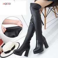 HQFZO Leather Women Long Boots Over the Knee Boots Platform Sexy Female Autumn Winter Thigh High Boots Block Heels Botas Mujer