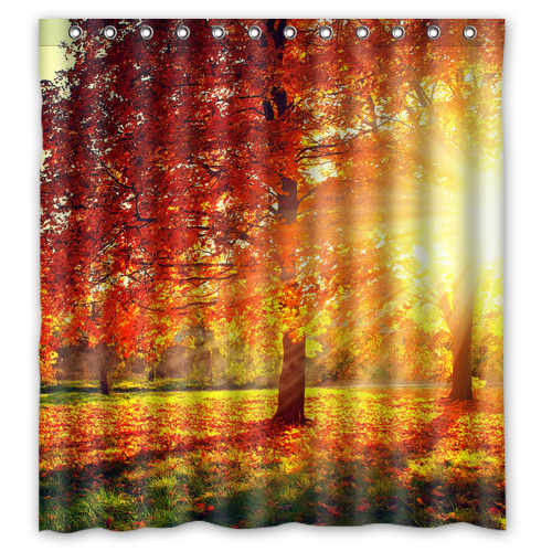 Sunrise Shiny Forest Autumn Leaves Custom Curtain Fabric Bath Bathroom Waterproof Shower Size 48x7260x7266x72 Inches