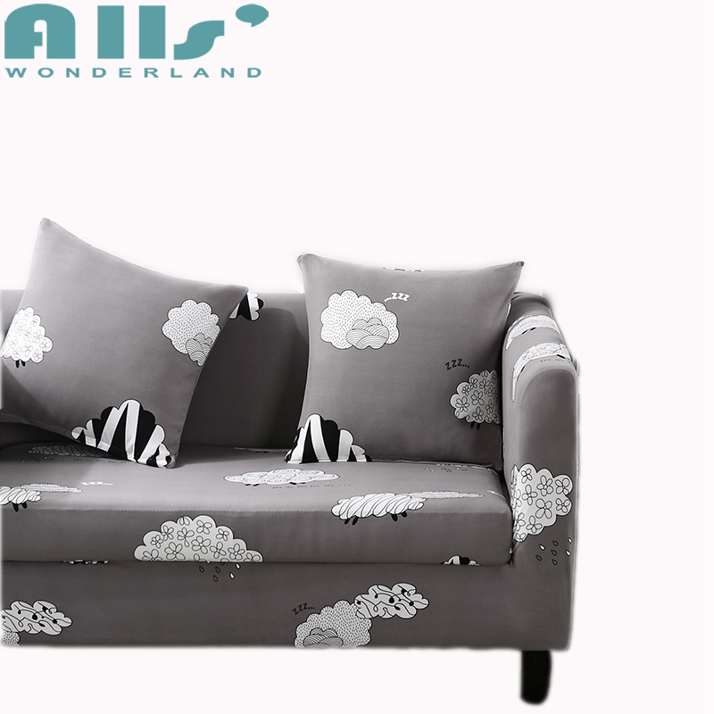 Light Grey Sofa Slipcover: Cute Sheep Stroke Light Grey Sofa Cover With Elastic