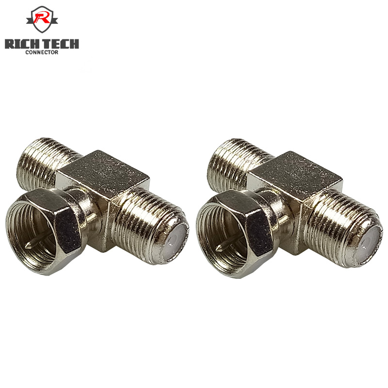 8pcs T Shape F Type TV Adapter F 1xMale Plug To F 2xFemale Jack Connector TV Accessories Coaxial RF Connectors