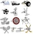 Promotion Free Shipping Sport Series Fashion Cufflinks Golf Football Tennis Design Copper Silver Men Cuff Links Wholesale&retail
