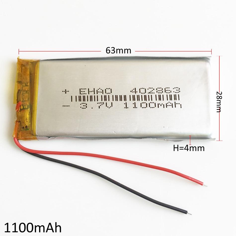 1100mAh Lithium Polymer Li-Po Rechargeable Battery 3.7V 402863 For MP3 GPS PSP DVD mobile <font><b>phone</b></font> video <font><b>game</b></font> <font><b>PAD</b></font> E-books tablet PC