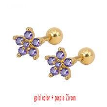 d8132d9c9d49 SONGLONG Acero quirúrgico plum flores pendientes piedra de circonio cúbico  Piercing pendientes Anti-alérgica banda