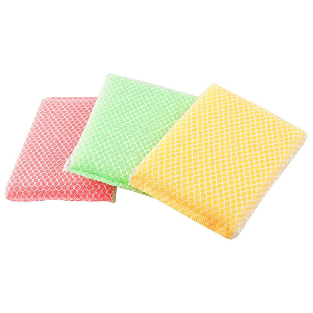 HOT GCZW-Kitchen Dish Bowl Green red Yellow Scouring Sponge Cleaning Pads 3 Pcs