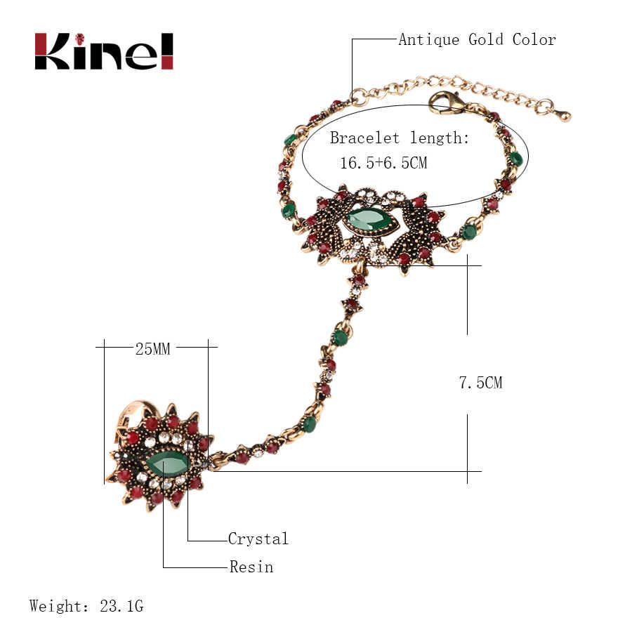 Kinel ユニークなブレスレットリンク女性のためのトルコジュエリーアンティークゴールドクリスタルフラワーヴィンテージ結婚式の宝石類 2017 新