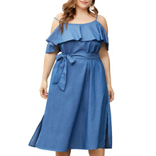 CUERLY Sexy cold shoulder denim blue plus size dress women Summer sashes ruffle jeans dresses Casual solid fashion vestidos plus cold shoulder ruffle denim dress