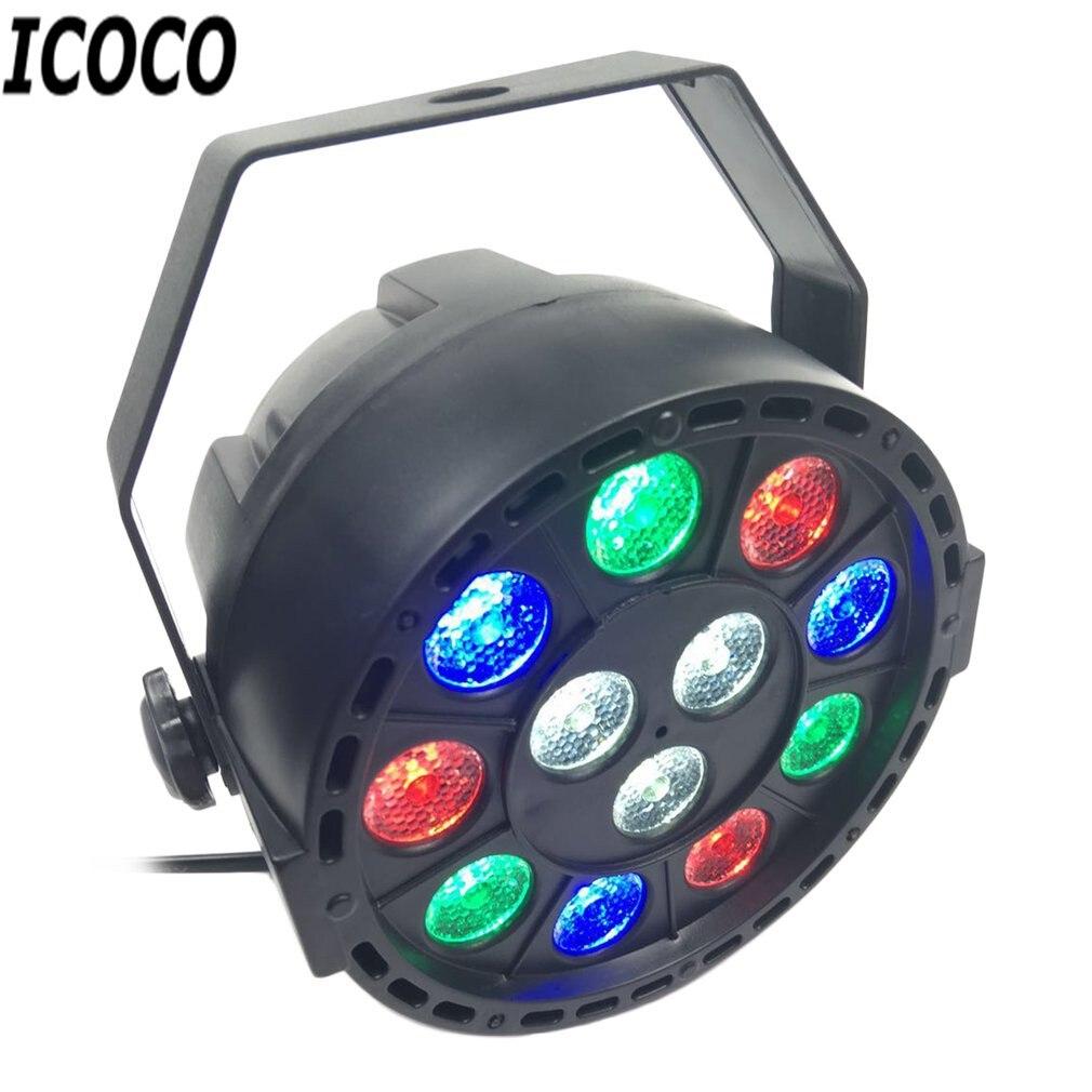 все цены на ICOCO 12*1W LED Flat Plastic RGB Stage Light 4 Control Model Lighting for Party Bar KTV Flash Deal Sale for US/EU/AU/UK Plug онлайн
