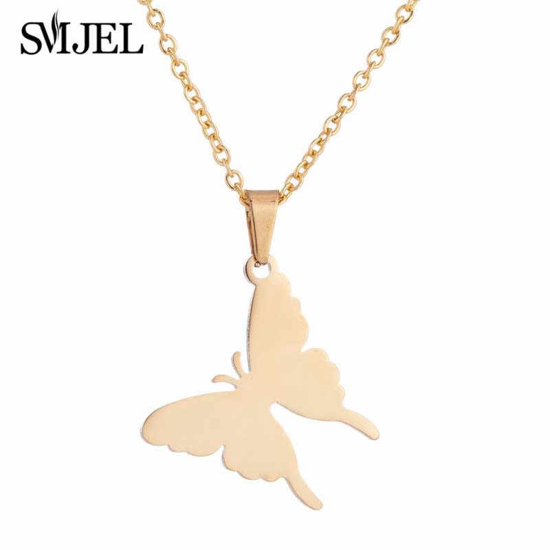 SMJEL śliczny matowy motyl wisiorek do naszyjnika różowe złoto kolor ogniwo ze stali nierdzewnej łańcuszek Neckalce biżuteria dla kobiet w sprzedaży hurtowej