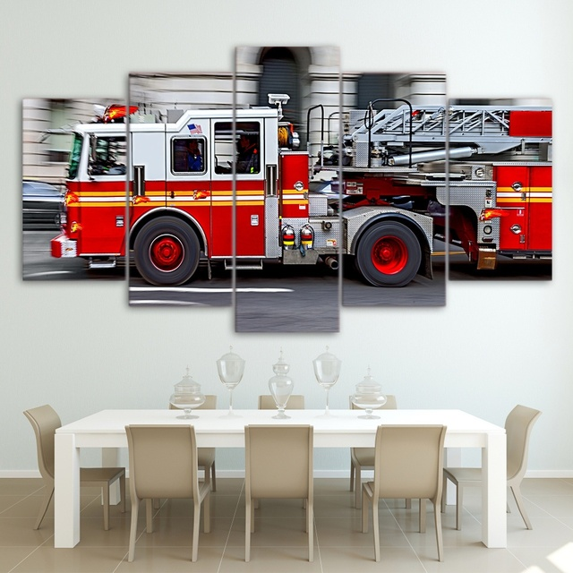 5 Panel Hd Canvas Wall Art Firefighter Fire Truck Canvas Wall