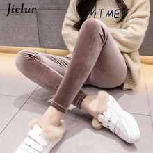 Jielur 2018 Autumn New Velour Thin Women Leggings Solid Color High Waist Skinny Pants Female Slim Fashion Ladies Leggins S-XXL