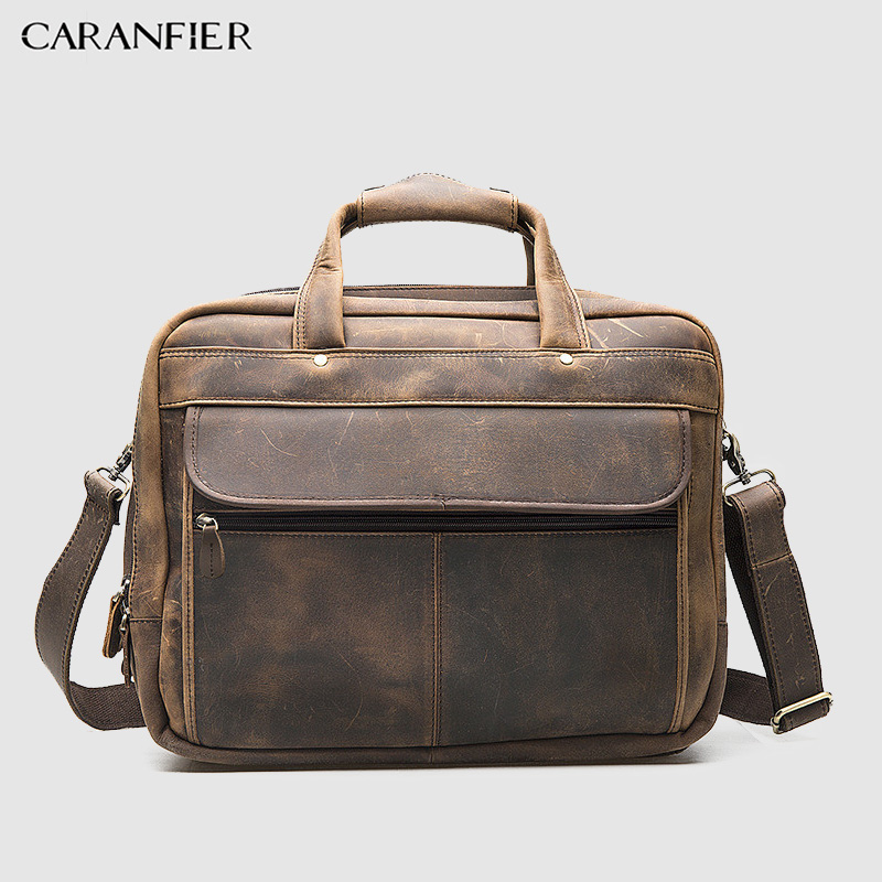 CARANFIER Retro Mens Briefcase First Layer Of Crazy Horse Cowhide Leather Men Business Packs 16-inch Laptop Shoulder Zipper Bags