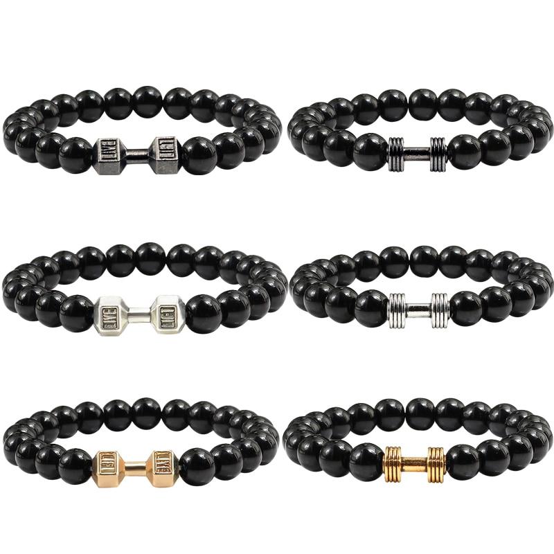 1Pc Fashion Natural Stone Bracelet Men Fit Life Black Matte Stones Dumbbell Bracelet Fitness Motivation Gym Jewelry Gifts Femme